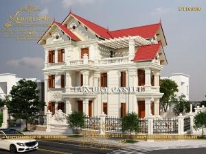 Mẫu biệt thự kiểu Pháp tân cổ điển 3 tầng mái thái 10.5m x 16.5m tuyệt mỹ DT160230
