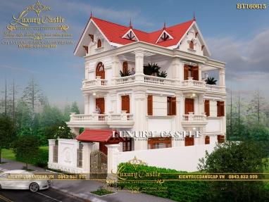 Khám phá vẻ đẹp kiến trúc tân cổ Pháp sang trọng với mẫu biệt thự 3 tầng mặt tiền 8.6m BT160615