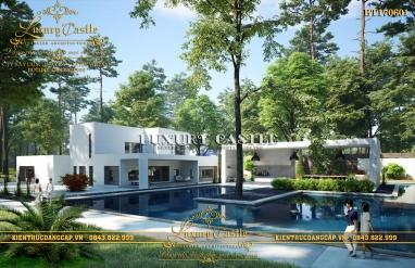 Mẫu biệt thự 2 tầng hiện đại có bể bơi sân vườn rộng trên đất quê Khánh Hòa BT170601