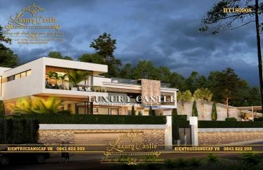 Mẫu biệt thự hiện đại 2 tầng trên đất đồi dốc thoáng có bể bơi rộng BT180908