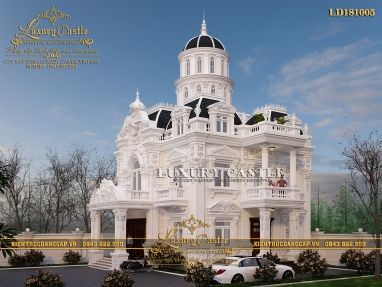 Mẫu lâu đài 2 tầng 1 tum tỉ lệ chuẩn phong cách Pháp đỉnh cao hoàn mỹ LD181005