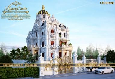 Tỉ lệ chuẩn hoàn mỹ của mẫu biệt thự lâu đài kiểu Pháp cổ 3 tầng có bán hầm LD191226