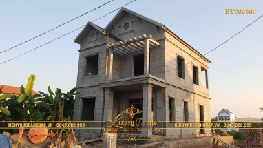 Thi công xây dựng công trình biệt thự 2 tầng mặt tiền 9m mái thái đẹp tại Vĩnh Phúc BT200309