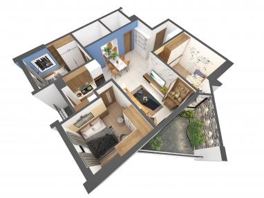 Thiết kế nội thất chung cư Mipec Hà Nội 73m2 với 3 phòng ngủ