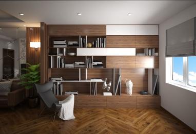 Thiết kế nội thất nhà ống hiện đại mặt tiền 6.5m gỗ óc chó đẳng cấp tại Hà Nội
