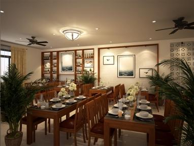 Thiết kế nội thất nhà hàng hải sản hiện đại 2 tầng 230m2 đẹp