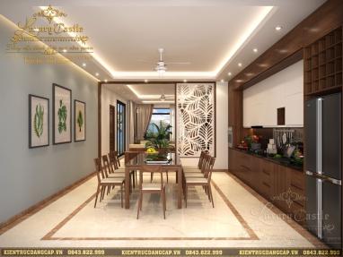 Mẫu nội thất phòng bếp ăn gỗ tự nhiên chi phí rẻ phù hợp với mọi thiết kế nhà ống