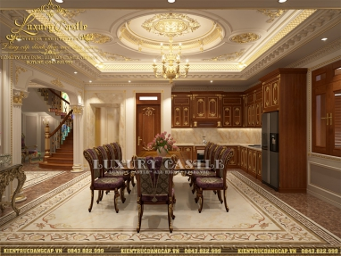 Đẳng cấp không góc chết với nội thất bếp ăn tân cổ phong thủy biệt thự mặt tiền 8.2m tại Sài Gòn