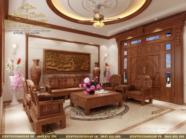 Mẫu thiết kế nội thất biệt thự tân cổ gỗ tự nhiên quý thượng lưu