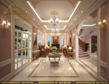 Nội thất phòng khách tân cổ điển mặt tiền 8.2m bố cục khoa học tại Nghệ An
