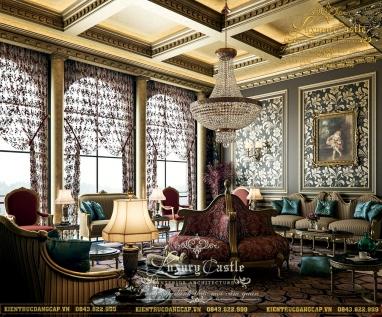 Choáng váng với nội thất phòng khách thượng đẳng tại biệt thự lâu đài cổ Sài Gòn