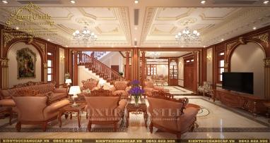 Nội thất phòng khách tân cổ điển gỗ tự nhiên quý hoành tráng lay động lòng người tại Hà Nội