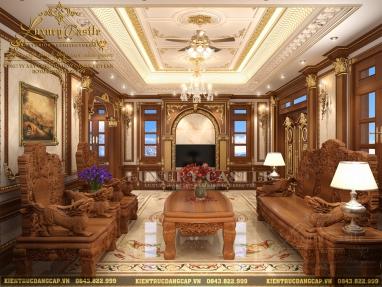 Khám phá nội thất phòng khách 100% gỗ tự nhiên sang trọng vượt bậc tại Hưng Yên