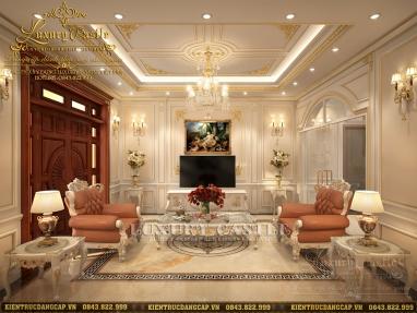 Mẫu thiết kế nội thất phòng khách tân cổ điển Châu Âu sang trọng đẳng cấp hoàng gia tại Hải Dương