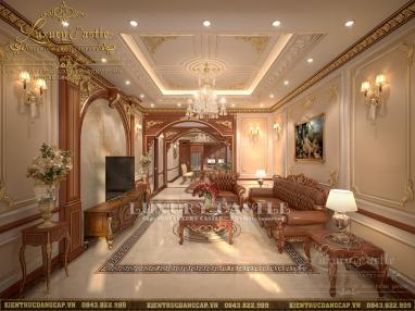 Không gian nội thất phòng khách đẳng cấp thượng lưu tại biệt thự 120m2/sàn Hải Dương