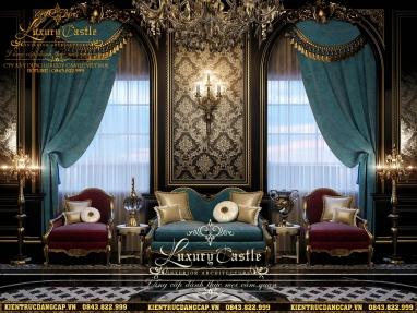 Không gian nội thất phòng khách lâu đài cổ điển xa hoa chinh phục mọi mắt ngắm