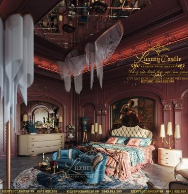 Mẫu nội thất phòng ngủ 100% gỗ tự nhiên như biệt thự Hòa Thân giàu sang