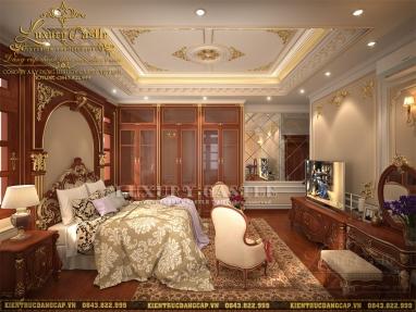 Bài trí nội thất phòng ngủ tân cổ điển gỗ Gõ đỏ sắc sảo từng chi tiết biệt thự mặt tiền 10.8m