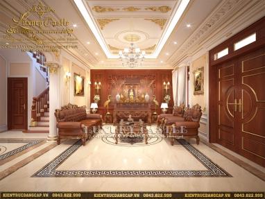 Không gian trang trọng linh thiêng nội thất phòng khách kết hợp khu thờ cúng gia đình