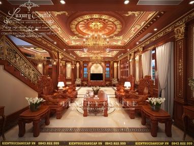 Mẫu nội thất 100% gỗ Gõ phòng khách và đại sảnh cổ điển hoàng gia sung túc viên mãn