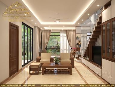 Bố trí nội thất phòng khách hiện đại liên thông phòng thờ mẫu nhà ống đẹp