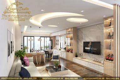 Khám phá không gian sống hiện đại với mẫu nội thất phòng khách liên thông bếp chung cư cao cấp tại Hà Nội