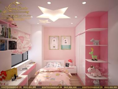 Mẫu nội thất phòng ngủ công chúa hồng phấn độc đáo nữ tính duyên dáng