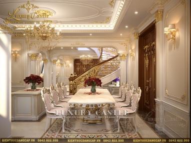 Phòng bếp tân cổ biệt thự lâu đài 3 tầng - nơi phô diễn hào hoa với bữa ẩm thực hoàng gia
