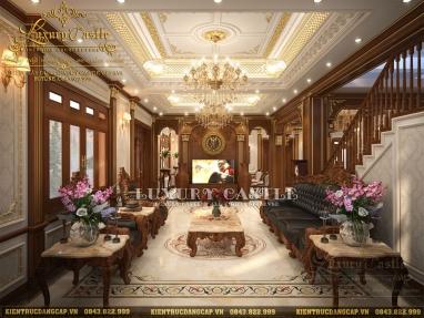 Nội thất phòng khách gỗ Gõ đỏ biệt thự 4 tầng tại Hải Dương - vẻ đẹp say đắm lòng người