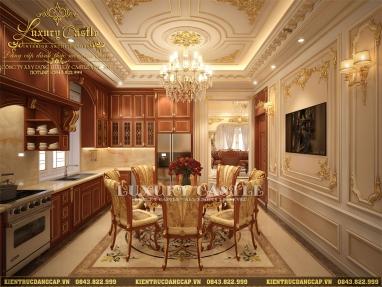 Vẻ đẹp tinh tế đầy ấn tượng của mẫu nội thất nhà bếp ăn lâu đài hoàng gia 6 tầng tại Vũng Tàu