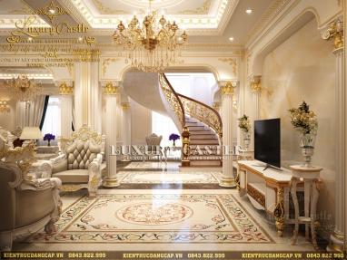 Mẫu nội thất phòng khách lâu đài xa hoa hoàn mỹ cho gia chủ thực sự chịu chơi