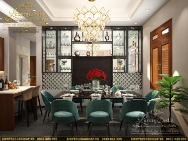 Mẫu nội thất phòng bếp ăn bàn đảo liên thông đẹp đến từng centimet tại Hưng Yên