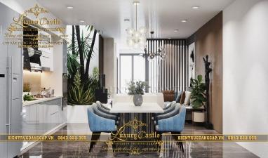 Nội thất phòng bếp ăn hiện đại nhà phố hẹp với không gian xanh sống động tại Đà Nẵng