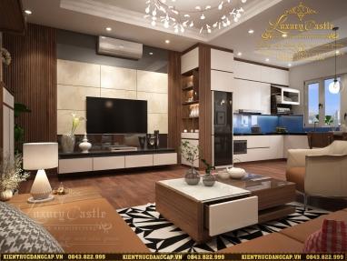 Mẫu nội thất liên thông 3 không gian phòng khách - bếp - thờ phù hợp với mọi chung cư