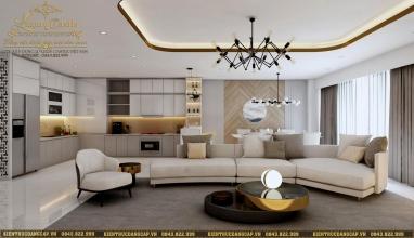 Nội thất phòng khách hiện đại chung cư cao cấp 85m2 sang chảnh tại Hà Nội