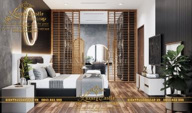Nội thất phòng ngủ Master hiện đại có không gian thay đồ rộng tiện nghi