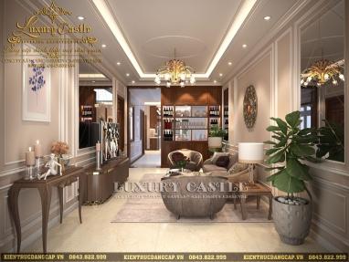 Tinh tế thượng lâu mẫu nội thất nhà phố tân cổ điển đẹp tại Thái Nguyên