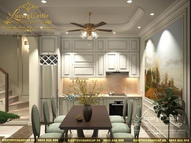 Nội thất phòng bếp ăn tân cổ điển không gian mở trong nhà liền kề mặt tiền 4.2m đẹp ngỡ ngàng