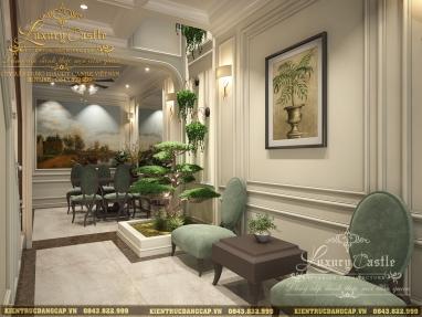 Mẫu nội thất phòng khách tân cổ điển nhà liền kề 60m2/sàn đẳng cấp không góc chết