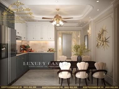 Bố trí nội thất phòng bếp ăn hoàng gia cực chất trong không gian nhà phố trật mặt tiền 4.2m