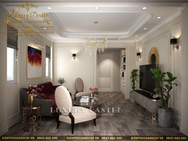 Mẫu nội thất phòng khách tân cổ mặt tiền 4.5m tinh tế từng đường nét hoa văn